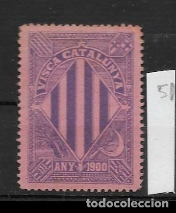 VN4-4-40 VIÑETA NACIONALISTA SEPARATISTA VISCA CATALUNYA ANY 1900 NATHAN Nº 10 CON FIJASELLOS (Sellos - España - Guerra Civil - Viñetas - Nuevos)
