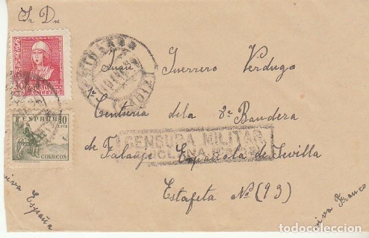 CENSURA : CHICLANA (CÁDIZ) A SEVILLA. (Sellos - España - Guerra Civil - De 1.936 a 1.939 - Cartas)