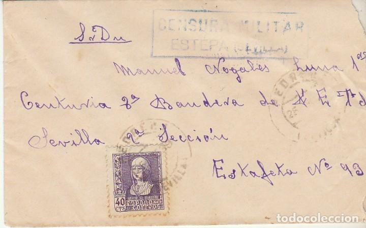 CENSURA: PEDRERA (SEVILLA) A ESTAFETA 93. (Sellos - España - Guerra Civil - De 1.936 a 1.939 - Cartas)