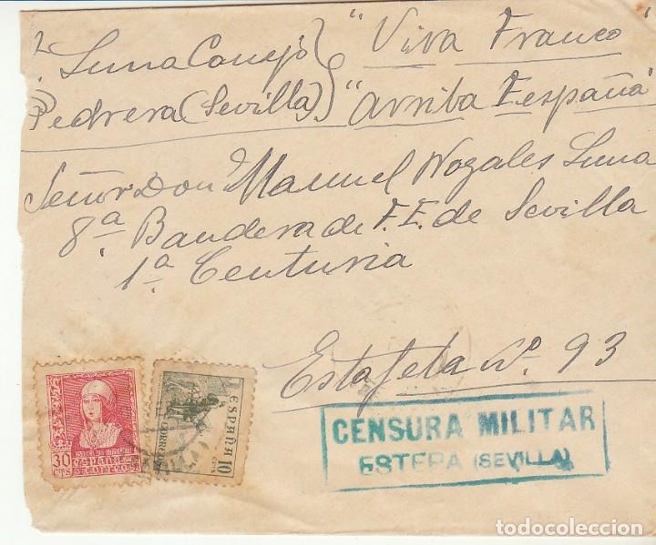 CENSURA : FRONTAL. ESTEPA A ESTAFETA 93. SEVILLA. (Sellos - España - Guerra Civil - De 1.936 a 1.939 - Cartas)