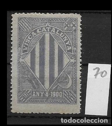 VN4-5-70 VIÑETA NACIONALISTA SEPARATISTA VISCA CATALUNYA ANY 1900 NATHAN Nº 10 CON FIJASELLOS PUNTO (Sellos - España - Guerra Civil - Viñetas - Nuevos)