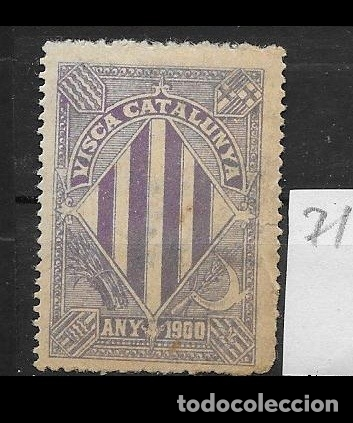 VN4-5-71 VIÑETA NACIONALISTA SEPARATISTA VISCA CATALUNYA ANY 1900 NATHAN Nº 10 CONFIJASELLOS (Sellos - España - Guerra Civil - Viñetas - Nuevos)