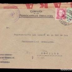 Sellos: *** CARTA JEREZ DE LA FRONTERA-SEVILLA 1936. CENSURA JEREZ + FISCAL. FERROCARRILES ANDALUCES ***. Lote 180265365