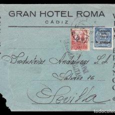 Sellos: *** CARTA CADIZ-SEVILLA 1937 GRAN HOTEL ROMA. CORREOS CADIZ CENSURA MILITAR + BENÉFICO CADIZ ***. Lote 180266773