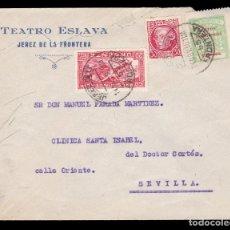 Sellos: *** CARTA JEREZ DE LA FRONTERA-SEVILLA 1936. TEATRO ESLAVA. URGENTE + SELLO PROVINCIAL CÁDIZ ***. Lote 180268702