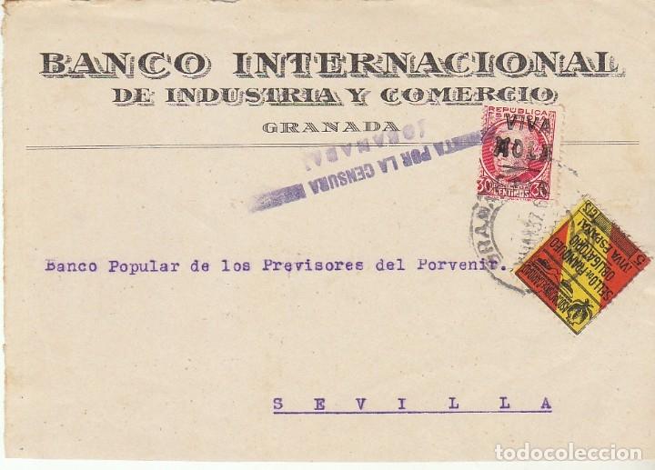CENSURA :FRAGMENTO. GRANADA A SEVILLA. (Sellos - España - Guerra Civil - De 1.936 a 1.939 - Cartas)