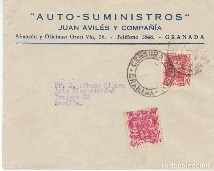 CENSURA : GRANADA A SEVILLA. (Sellos - España - Guerra Civil - De 1.936 a 1.939 - Cartas)