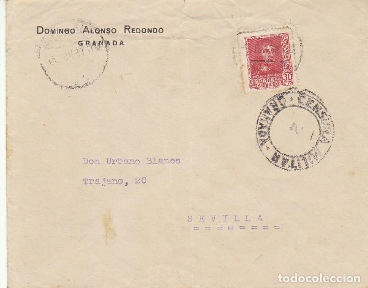 CENSURA: GRANADA A SEVILLA. (Sellos - España - Guerra Civil - De 1.936 a 1.939 - Cartas)