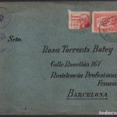 Sellos: CARTA Y SOBRE, DE BASE TURIA,-PUESTO EN CAMPAÑA, A RESIDENCIA PROF, FEMENINA,-BARCELONA, VER. Lote 180409146