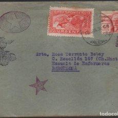 Sellos: CARTA Y SOBRE, DE EJERCITO DE MANIOBRAS,-VALENCIA A ESCUELA DE ENFERMERAS,-BARCELONA, VER. Lote 180410332