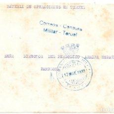 Sellos: GUERRA CIVIL. COMANDANCIA MILITAR DE TERUEL FRONTAL A PAMPLONA. 1937. Lote 181078972