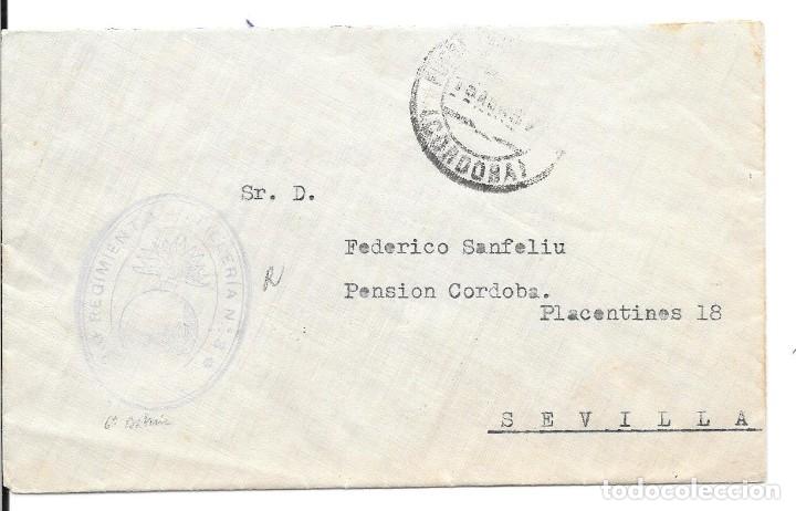 GUERRA CIVIL. SOBRE DE PEÑARROYA A SEVILLA. REGIMIENTO DE ARTILLERIA Nº 3 (Sellos - España - Guerra Civil - De 1.936 a 1.939 - Cartas)