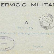 Sellos: GUERRA CIVIL. FRONTAL DEL SERVICIO MILITAR CIRCULADO DE PASAJES A PAMPLONA. Lote 181085578
