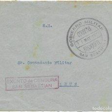 Sellos: GUERRA CIVIL. FRONTAL CIRCULADO DE SAN SEBASTIAN A IRUN 1937. Lote 181085730