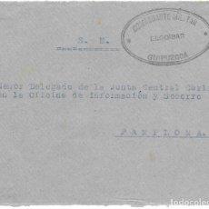 Sellos: GUERRA CIVIL. FRONTAL CIRCULADO DE ELGOIBAR A PAMPLONA. Lote 181085950