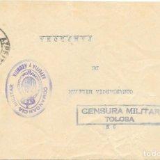 Sellos: GUERRA CIVIL. FRONTAL CIRCULADO DE AZPEITIA A PAMPLONA 1937. Lote 181088876