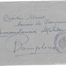 Sellos: GUERRA CIVIL. FRONTAL CIRCULADO DE DEVA A PAMPLONA . Lote 181088943