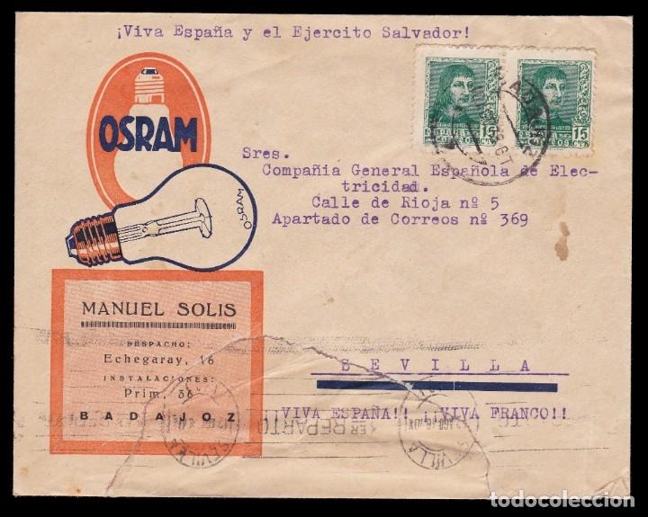 * CARTA BADAJOZ-SEVILLA 1938. OSRAM-MANUEL SOLIS (BADAJOZ). CENSURA BADAJOZ + LOCAL BADAJOZ * (Sellos - España - Guerra Civil - De 1.936 a 1.939 - Cartas)