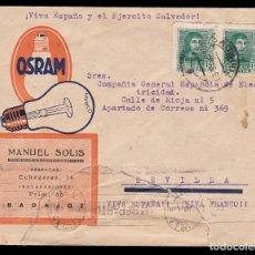 Sellos: * CARTA BADAJOZ-SEVILLA 1938. OSRAM-MANUEL SOLIS (BADAJOZ). CENSURA BADAJOZ + LOCAL BADAJOZ *. Lote 181132157