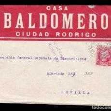 Sellos: * CARTA CIUDAD RODRIGO-SEVILLA 1937. CASA BALDOMERO CIUDAD RODRIGO. CENSURA MILITAR CIUDAD RODRIGO *. Lote 181132390
