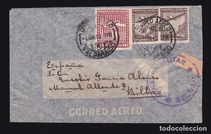 *** CARTA VALPARAÍSO (CHILE)-BILBAO 1940. CORREO AÉREO SEVILLA + CENSURA MILITAR BILBAO *** (Sellos - España - Guerra Civil - De 1.936 a 1.939 - Cartas)