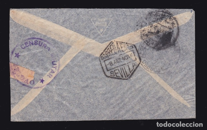Sellos: *** CARTA VALPARAÍSO (CHILE)-BILBAO 1940. CORREO AÉREO SEVILLA + CENSURA MILITAR BILBAO *** - Foto 2 - 181135543