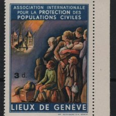 Sellos: LIEUX DE GENEVE, 3D.- PROTECCION POBLACIONES CIVILES-- VER FOTO. Lote 181219475