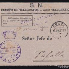 Sellos: ** FRONTAL CEUTA-TAFALLA (NAVARRA) 1937. CENSURA TAFALLA, FRANQUICIA CEUTA. CUERPO DE TELÉGRAFOS **. Lote 181323665