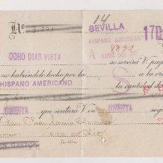 Sellos: LETRA DE CAMBIO CON SELLO LOCAL. 1938. SEVILLA A CORIA DEL RÍO. Lote 181530196