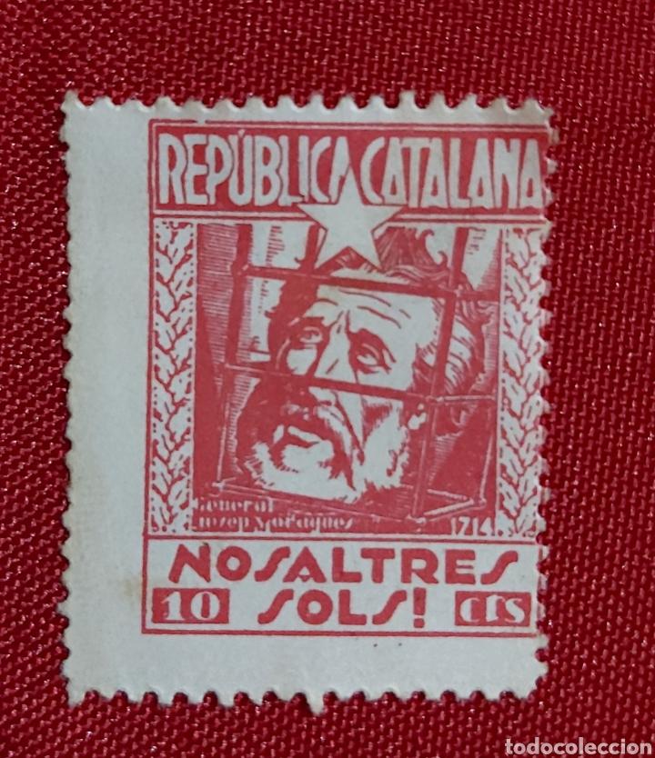 VIÑETA REPUBLICA CATALUÑA NOSALTRES SOLS 10 CTS (Sellos - España - Guerra Civil - Viñetas - Usados)