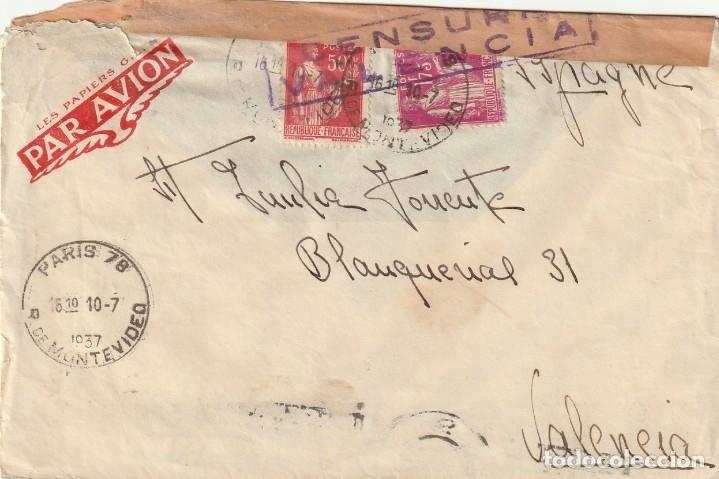 SOBRE CON CENSURA DE VALENCIA REMITIDO DESDE FRANCIA (1937) (Sellos - España - Guerra Civil - De 1.936 a 1.939 - Cartas)