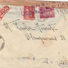 Sellos: SOBRE CON CENSURA DE VALENCIA REMITIDO DESDE FRANCIA (1937). Lote 181991822