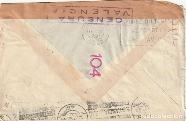 Sellos: SOBRE CON CENSURA DE VALENCIA REMITIDO DESDE FRANCIA (1937) - Foto 2 - 181991822