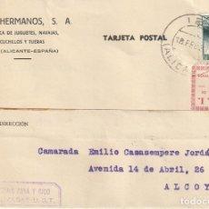 Sellos: TARJETA POSTAL PRIVADA, VIÑETA S. R. I. (IBI) Y MATASELLOS IND. PAYÁ COLECTIVIZADAS - UGT (1937). Lote 181994505