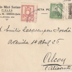 Sellos: TARJETA POSTAL PRIVADA CON UNA VIÑETA S. R. I. (ÚBEDA) (1937). Lote 181998198