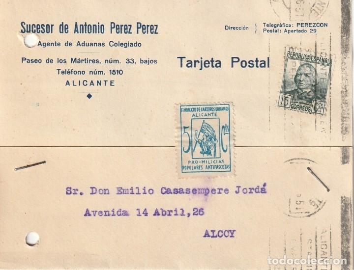 TARJETA POSTAL PRIVADA CON UNA VIÑETA SINDICATO DE CARTEROS URBANOS - PROMILICIAS (ALICANTE) (1936) (Sellos - España - Guerra Civil - De 1.936 a 1.939 - Cartas)
