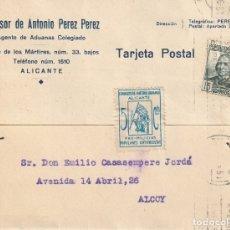 Sellos: TARJETA POSTAL PRIVADA CON UNA VIÑETA SINDICATO DE CARTEROS URBANOS - PROMILICIAS (ALICANTE) (1936). Lote 181998930