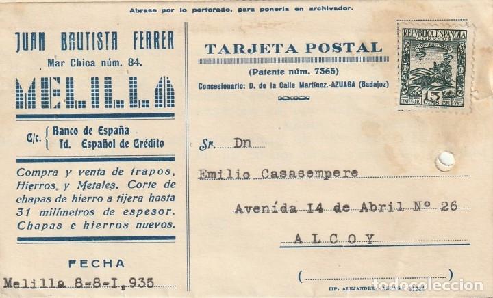 TARJETA POSTAL PRIVADA (1935) (CIRCULADA SIN MATASELLAR) (Sellos - España - Guerra Civil - De 1.936 a 1.939 - Cartas)