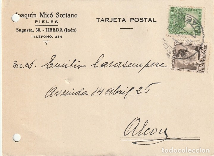 TARJETA POSTAL PRIVADA (MATASELLOS CONTROLADO UGT - CNT) (1937) (Sellos - España - Guerra Civil - De 1.936 a 1.939 - Cartas)