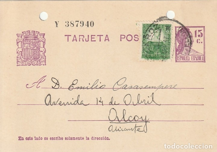 TARJETA POSTAL DE LA 2ª REPÚBLICA (1937) (Sellos - España - Guerra Civil - De 1.936 a 1.939 - Cartas)