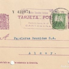 Sellos: TARJETA POSTAL DE LA 2ª REPÚBLICA (MATASELLOS DE PAPELERAS COLECTIVIZADAS CNT - UGT ALCOY) (1937). Lote 182017153