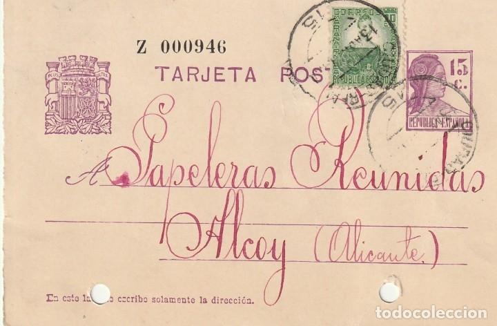 TARJETA POSTAL DE LA 2ª REPÚBLICA (2 MATASELLOS DIFERENTES DE COLECTIVIZACIÓN) (1937) (Sellos - España - Guerra Civil - De 1.936 a 1.939 - Cartas)