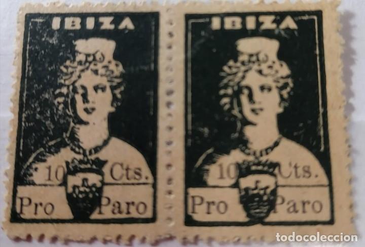 IBIZA DIOSA TANIT .G.CIVIL .LOCAL . PRO PARO . 5 CTS. PAREJA .NEGRO. .LETRAS AL DORSO. ** (MA084) (Sellos - España - Guerra Civil - Locales - Nuevos)