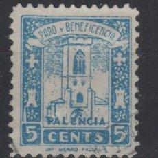 Sellos: 1937 PALENCIA SELLO VIÑETA PARO Y BENEFICENCIA 5 CTS (º). Lote 182246675