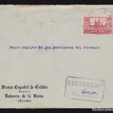 Sellos: * FRONTAL TALAVERA DE LA REINA-SEVILLA. MATASELLOS CAJA POSTAL Y CENSURA MILITAR TALAVERA *. Lote 182707201