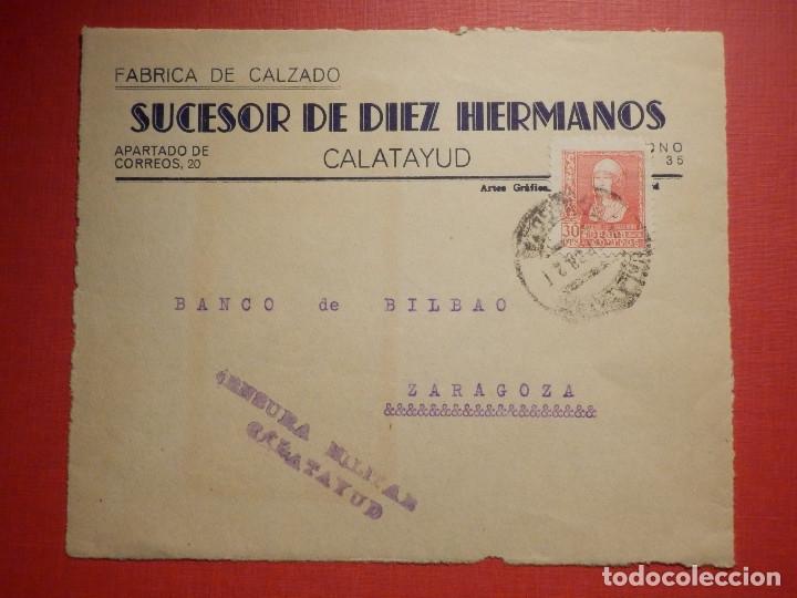 SELLO CENSURA MILITAR - CALATAYUD - VIVA ESPAÑA - BANCO DE BILBAO - 1937 (Sellos - España - Guerra Civil - De 1.936 a 1.939 - Cartas)