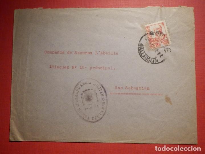 - CENSURA - SELLO COMANDANCIA MILITAR - MEDINA DEL CAMPO - VALLADOLID - 1937 (Sellos - España - Guerra Civil - De 1.936 a 1.939 - Cartas)