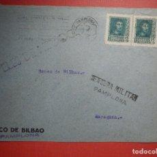 Sellos: SELLO CENSURA MILITAR - PAMPLONA - BANCO DE BILBAO - 1937. Lote 182769671