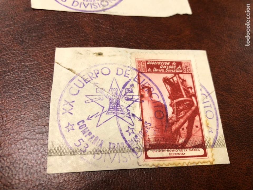 Sellos: Viñetas mataselladas de 53 división. Asociación de amigos de la Unión Soviética - Foto 3 - 182790163