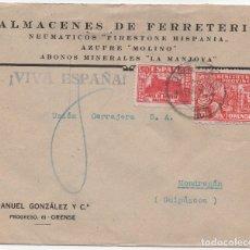 Sellos: CARTA A MONDRAGÓN CON VIÑETA DE 10 C. DE ORENSE. Lote 182813808